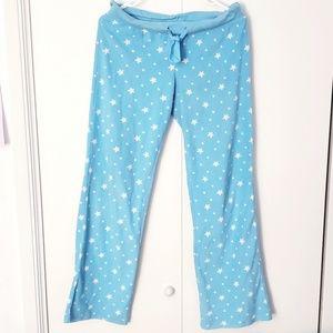 Aero starry polkadot blue fleece long pajama pants